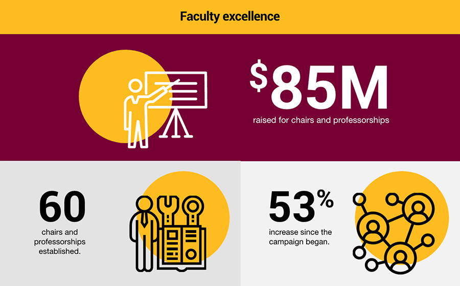Faculty excellence. $85M raised for chairs and professorships. 60 chairs and professorships established. 53% increase since the campaign began.